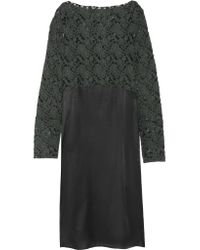 MM6 by Maison Martin Margiela - Green Flocked Tulle And Satin Midi Dress - Lyst