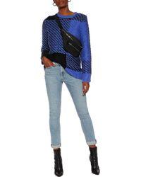 Rag & Bone - Blue Jessa Two-tone Cotton And Wool-blend Sweater - Lyst