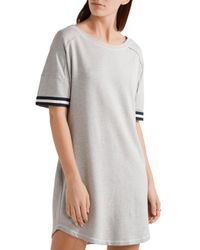Splendid - Gray Varsity Active Striped Stretch Cotton And Modal-blend Jersey Mini Dress - Lyst