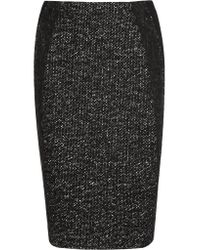 Donna Karan | Black Tweed And Jersey Pencil Skirt | Lyst