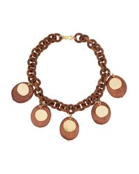 Kenneth Jay Lane | Brown Faux Wood And Gold-plated Necklace | Lyst
