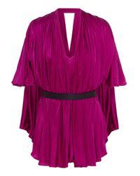 Issa - Pink Mira Belted Satin-jersey Bodysuit - Lyst