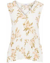 Ganni - Woman St. Pierre Floral-print Crepe Top White - Lyst