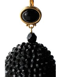Kenneth Jay Lane - Woman Tasseled Gold-tone, Crystal And Stone Earrings Black - Lyst