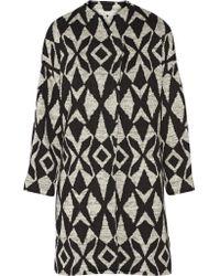 Alice + Olivia | Black Emett Printed Stretch-knit Cocoon Coat | Lyst