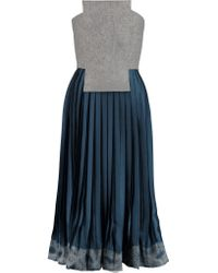 Vionnet - Blue Pleated Wool-felt And Satin Dress - Lyst