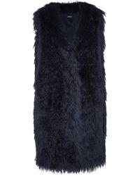 DKNY | Blue Oversized Faux Fur Gilet | Lyst