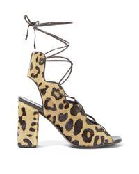 Saint Laurent | Multicolor Leopard-print Calf Hair Lace-up Sandals | Lyst