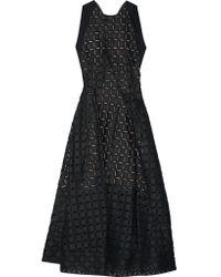 Roland Mouret   Black Baldry Cutout Fil Coupé Organza Midi Dress   Lyst