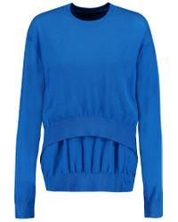 Alexander Wang Blue Layered Split-back Wool Sweater