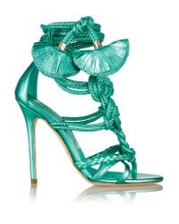 Brian Atwood | Green Yuna Metallic Leather Sandals | Lyst