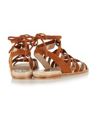 Paul Andrew - Brown Lace-up Elaphe And Suede Sandals - Lyst