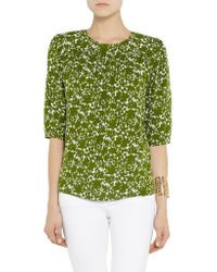 Michael Kors - Green Printed Silk-crepe Top - Lyst