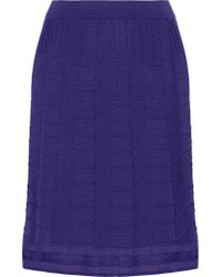 M Missoni - Purple Crochet-knit Wool-blend Skirt - Lyst