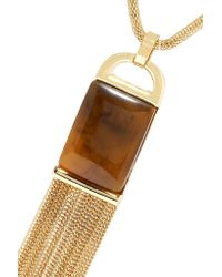 Kenneth Jay Lane - Brown Gold-tone Faux Tortoiseshell Necklace - Lyst