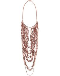 Eddie Borgo - Pink - Berber Rose Gold-tone Bead Necklace - Lyst