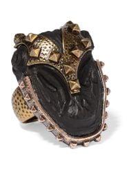 Valentino | Metallic Burnished Gold-plated Ebony Ring | Lyst
