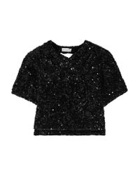 Sonia Rykiel | Black Cutout Sequined Knitted Top | Lyst