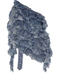 Marques'Almeida - Blue Open-back Ruffled Cotton-chambray Top - Lyst