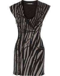 Roberto Cavalli | Black Tiger-print Denim Mini Dress | Lyst