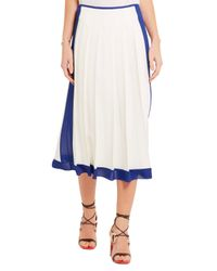 Victoria Beckham - Woman Georgette-trimmed Pleated Crepe Midi Skirt White - Lyst