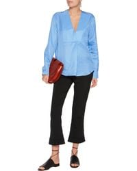 Jil Sander | Blue Pleated Silk Blouse | Lyst
