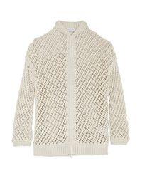 Brunello Cucinelli - Natural - Open-knit Cotton-blend Cardigan - Ecru - Lyst