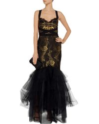 Notte by Marchesa - Black Metallic Lace Gown - Lyst