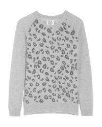 Zoe Karssen | Gray Leopard-print Wool And Cashmere-blend Sweater | Lyst