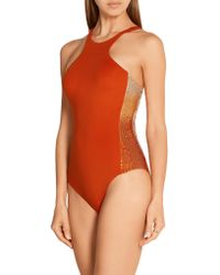 La Perla - Orange Radiance Sequin-embellished Swimsuit - Lyst
