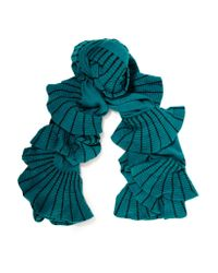 Magaschoni | Blue Ruffle-trimmed Color-block Cashmere Scarf | Lyst