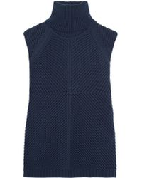 Iris & Ink - Blue Sara Ribbed Cotton-blend Turtleneck Sweater - Lyst