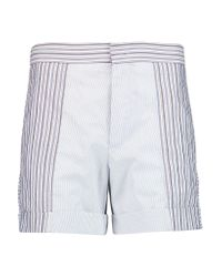 See By Chloé | Blue Paneled Striped Cotton Shorts | Lyst