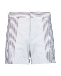 See By Chloé - Blue Paneled Striped Cotton Shorts - Lyst