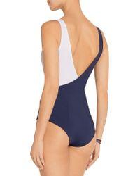 Lisa Marie Fernandez - Blue Carine Two-tone Stretch-jersey Bodysuit - Lyst
