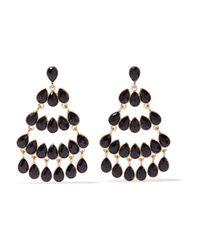 Kenneth Jay Lane - Black Gold-plated Stone Earrings - Lyst