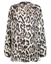 Lanvin - Multicolor Leopard-print Silk Crepe De Chine Blouse - Lyst