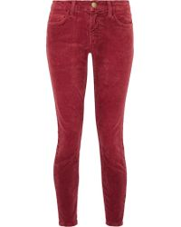 Current/Elliott | Red The Stiletto Corduroy Mid-rise Skinny Jeans | Lyst