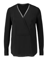 Theory | Black Ramalla Wrap-effect Silk Blouse | Lyst