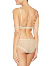 Mimi Holliday by Damaris - Pink Lace-paneled Mesh And Stretch Silk-satin Triangle Bra - Lyst