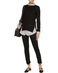Autumn Cashmere - Black Zip-detailed Ribbed-knit Sweater - Lyst