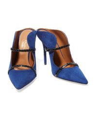 Malone Souliers | Blue Maureen Snake-trimmed Suede Mules | Lyst