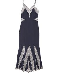 Jonathan Simkhai | Blue Embroidered Cotton-poplin Dress | Lyst