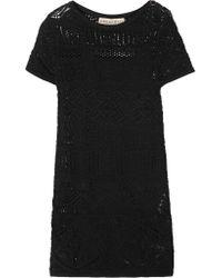 Emilio Pucci   Black Crocheted Cotton Mini Dress   Lyst