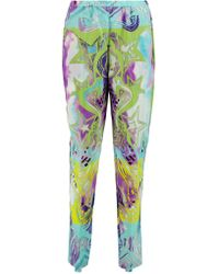 Emilio Pucci | Blue Printed Silk-georgette Tapered Pants | Lyst
