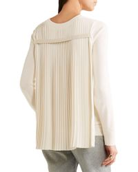 MM6 by Maison Martin Margiela - Natural Pleated Crepe-paneled Knitted Sweater - Lyst