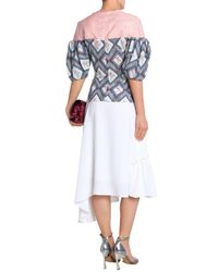 Emilia Wickstead - Woman Woven-paneled Printed Crepe Top Pink - Lyst