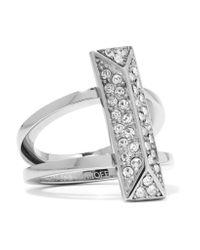 Rebecca Minkoff | Metallic Silver-tone Crystal Ring | Lyst