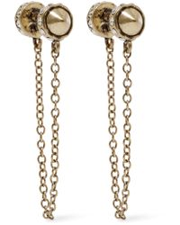 Rebecca Minkoff | Multicolor Golden Crystal Arrow Front-back Drop Earrings | Lyst
