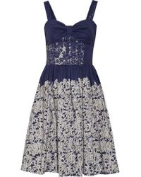 Oscar de la Renta | Blue Printed Cotton-blend Dress | Lyst